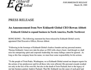 Press Statement: Announcement from Eckhardt Global CEO Rowan Abbott